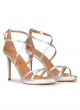 Strappy platform high heel sandals in silver