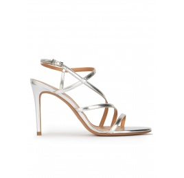 Strappy high heel sandals in silver leather Pura López