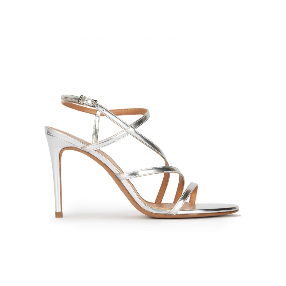Strappy high heel sandals in silver leather