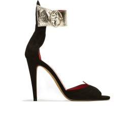 Ankle strap high heel sandals in suede and leather with leaf detailed heel Pura López