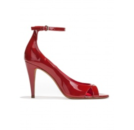 Ankle strap high heel sandals in red patent leather Pura López