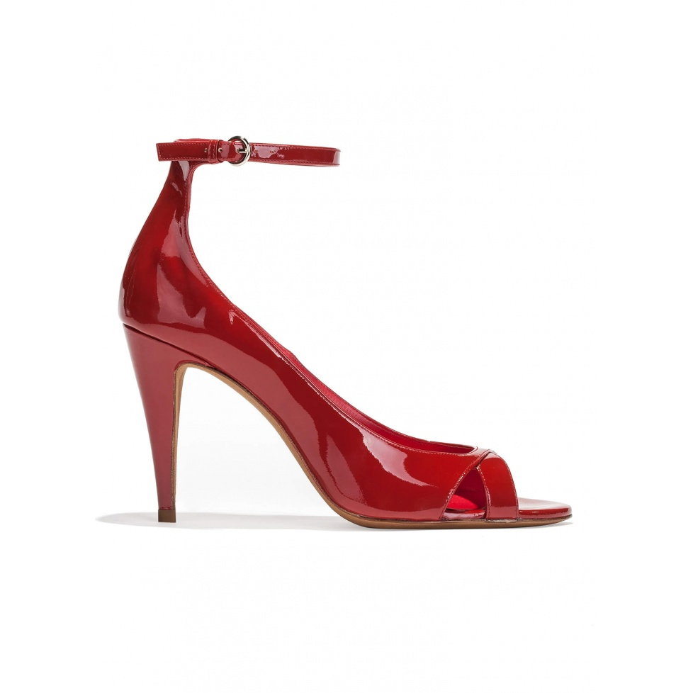 Ankle strap high heel sandals in red patent leather