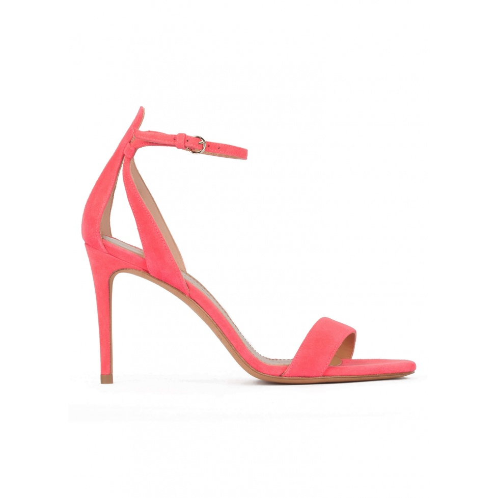 Barely-there ankle strap high heel sandals in coral suede