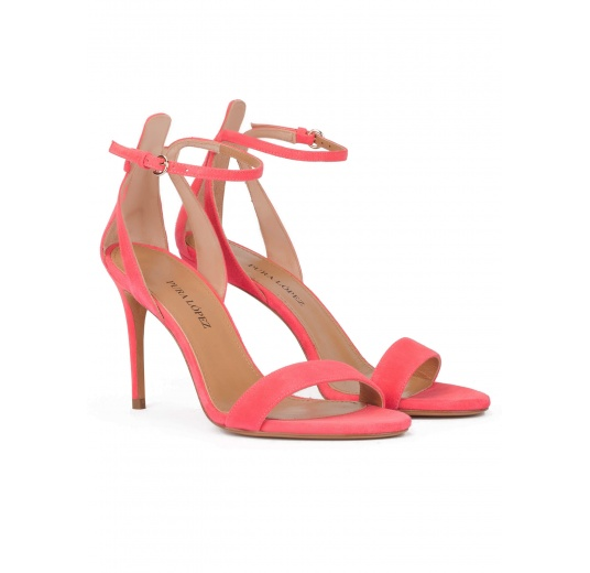 Barely-there ankle strap high heel sandals in coral suede Pura L�pez