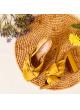 Sandalias de tacón alto ancho en raso ocre