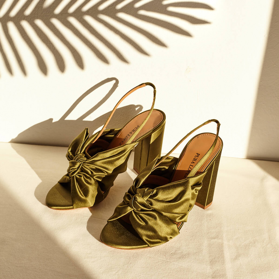 High block heel sandals in khaki green satin