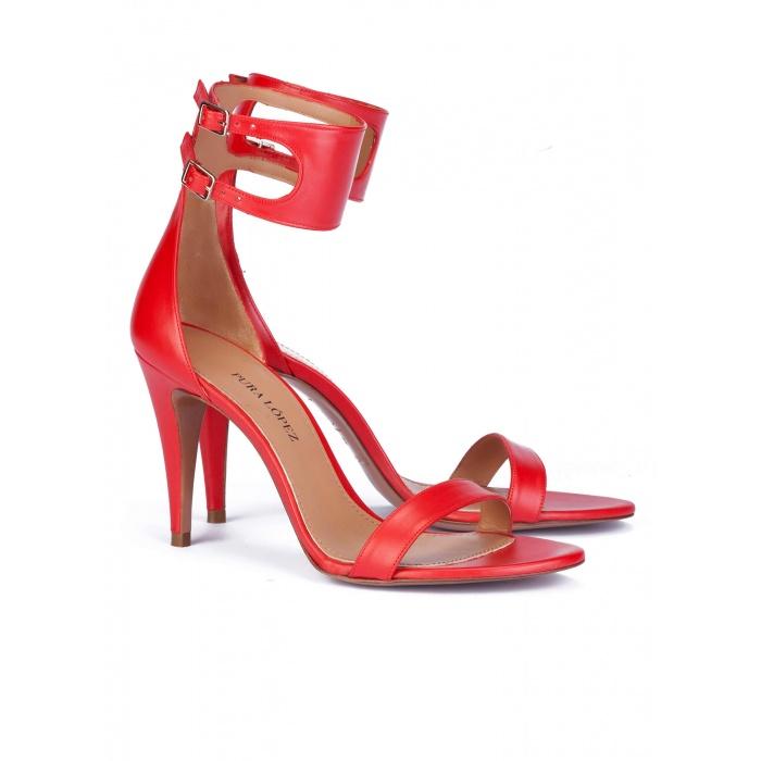 High heel sandals in red patent - online shoe store Pura Lopez