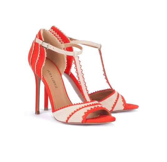 Red and sand suede heeled sandals with T-bar Pura L�pez