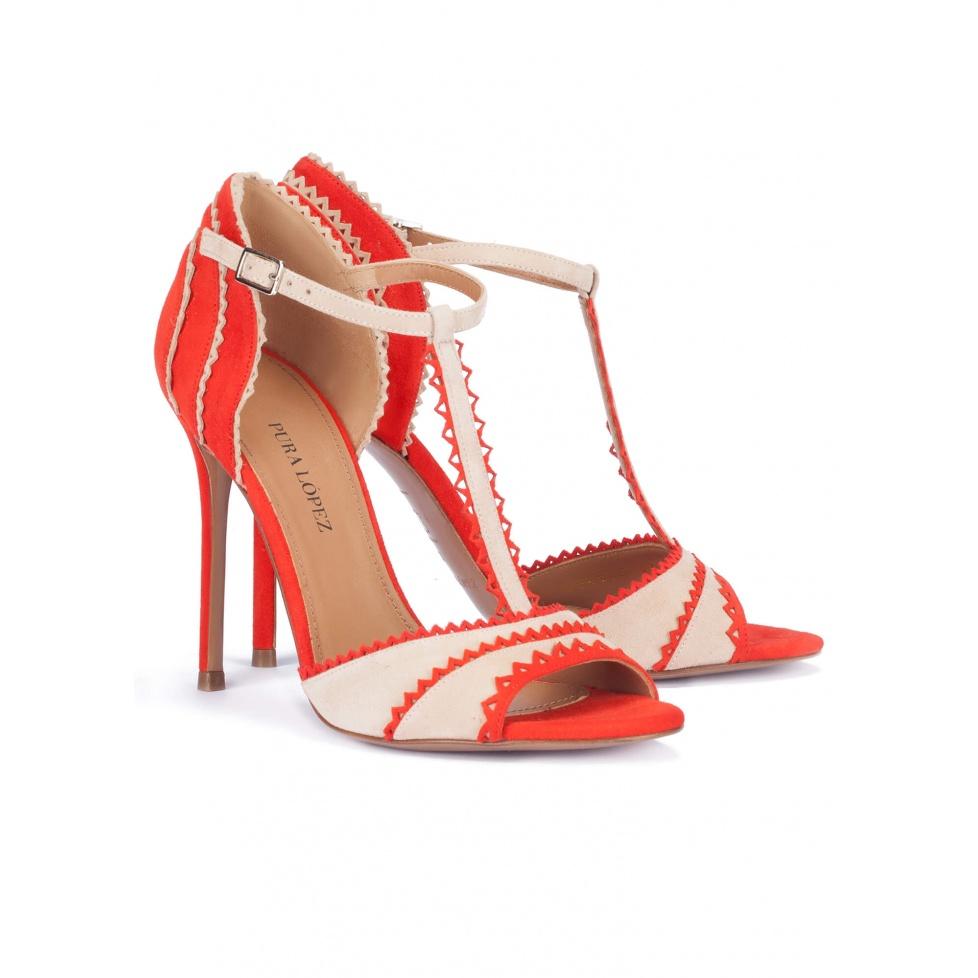 High heel sandals in red suede - online shoe store Pura Lopez