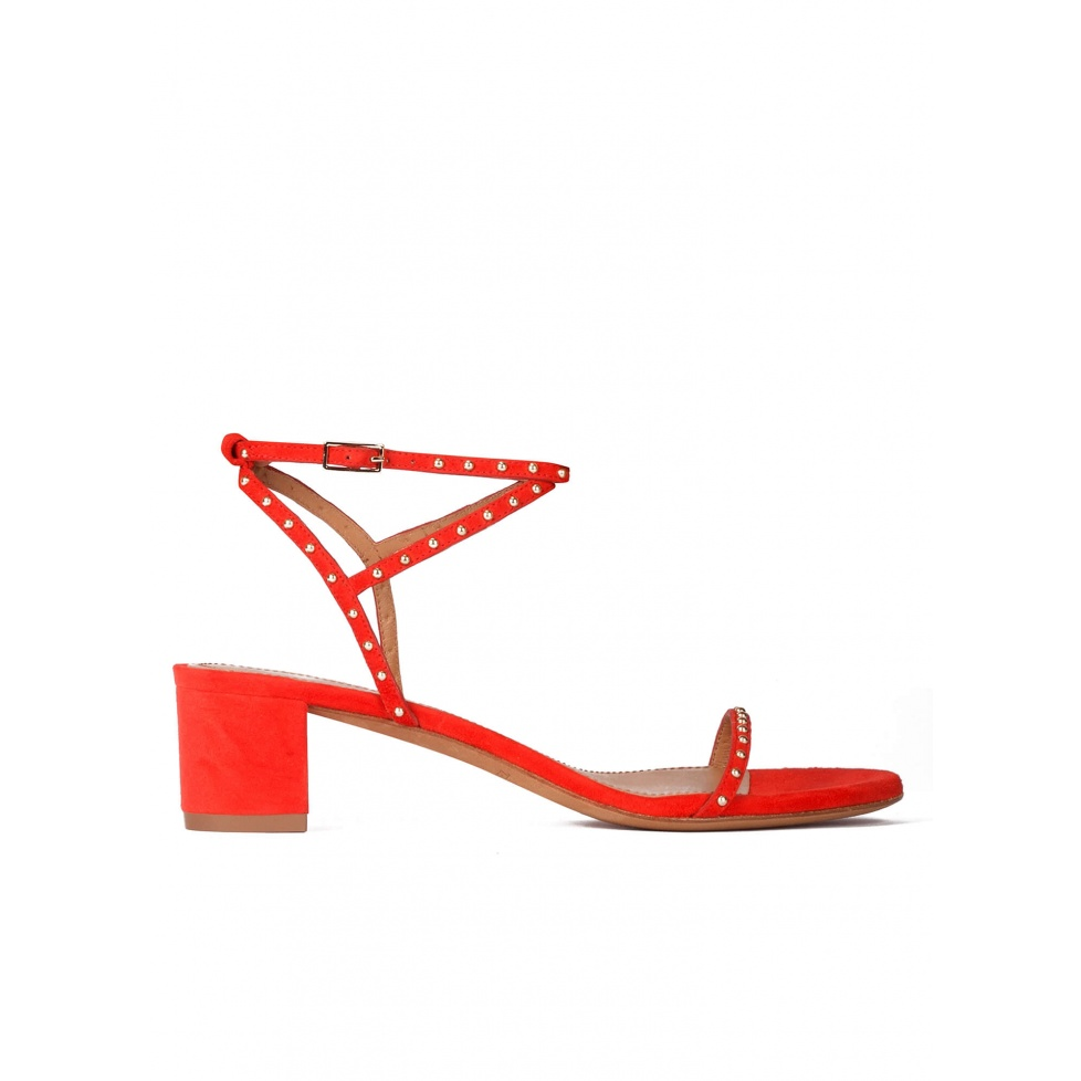 Studded mid block heel sandals in red suede
