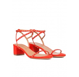 Studded mid block heel sandals in red suede Pura López