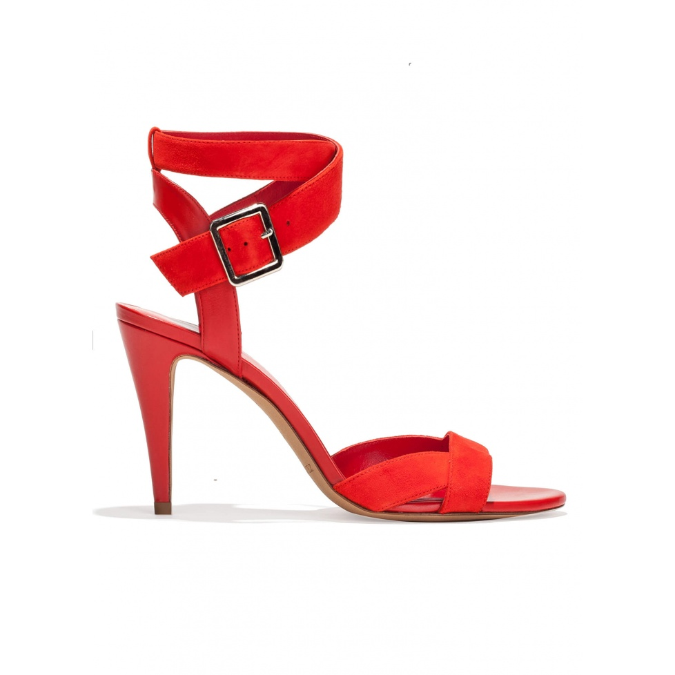 Strappy high heel sandals in red suede