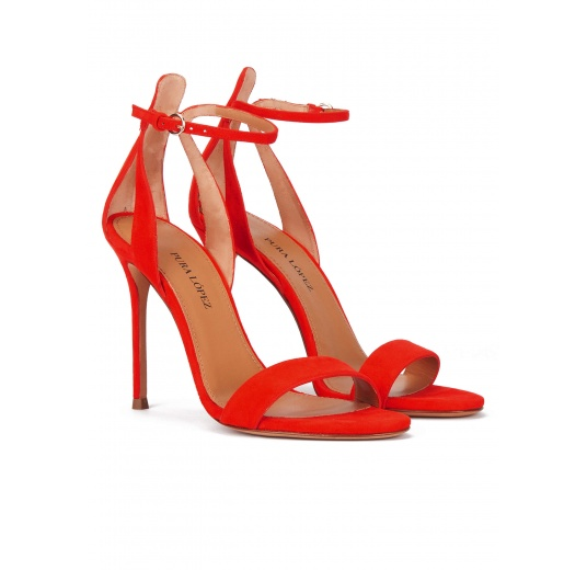 High heel ankle strap sandals in red suede Pura L�pez
