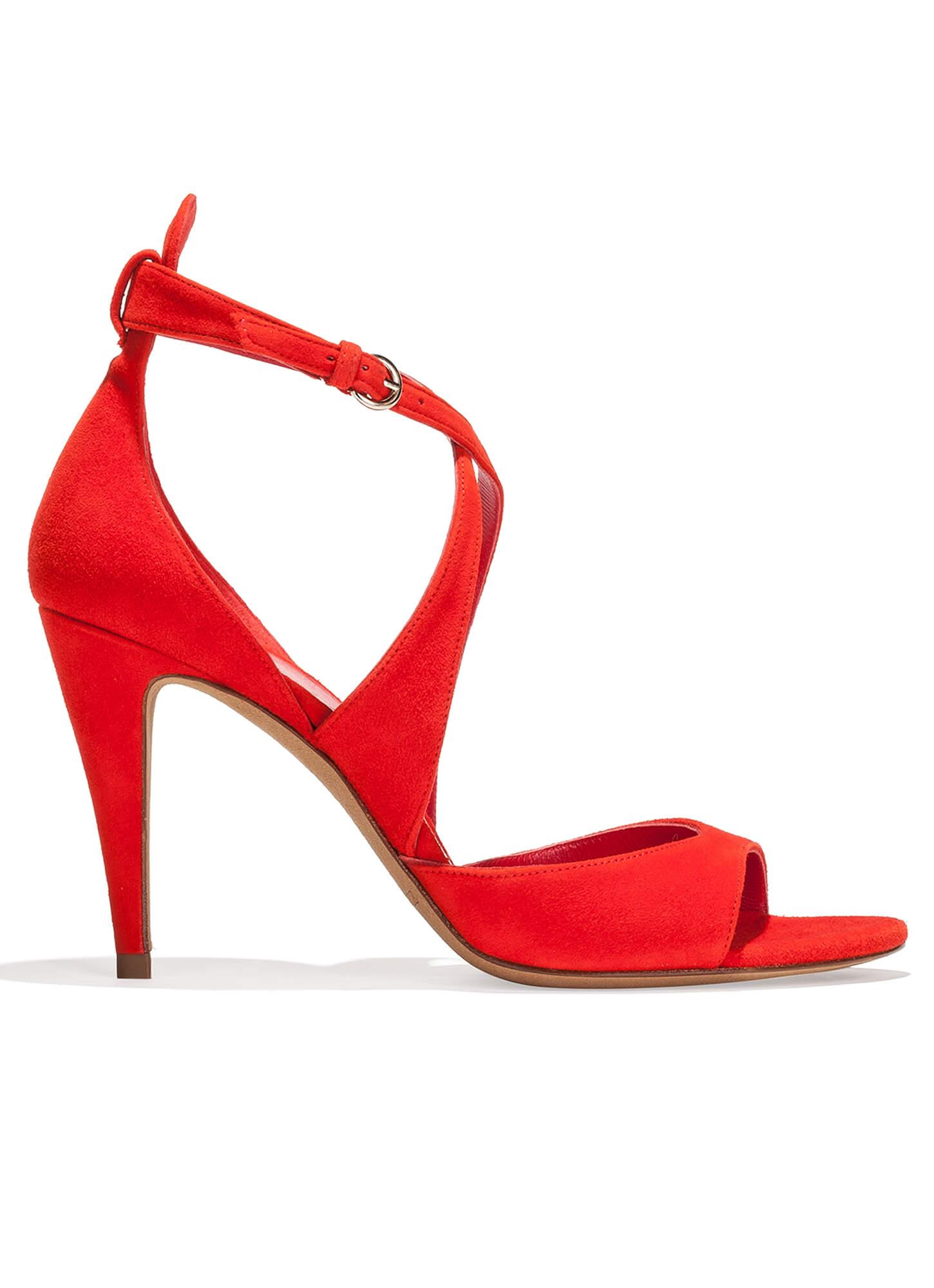 3b604382c5d Sandalia de tacón alto en ante - tienda de zapatos Pura López . PURA ...