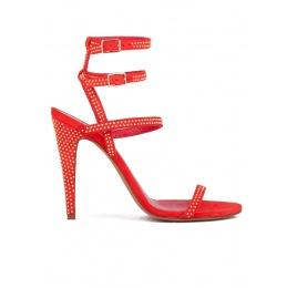 Studded high heel sandals in red suede Pura López