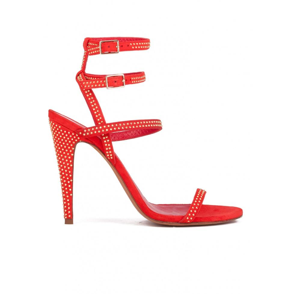 Sandalias de tacón alto en ante rojo con doble pulsera y microtachas