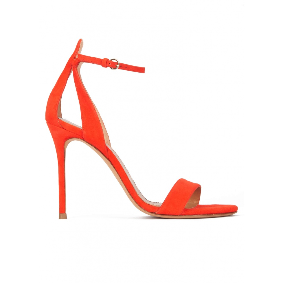 High heel ankle strap sandals in red suede