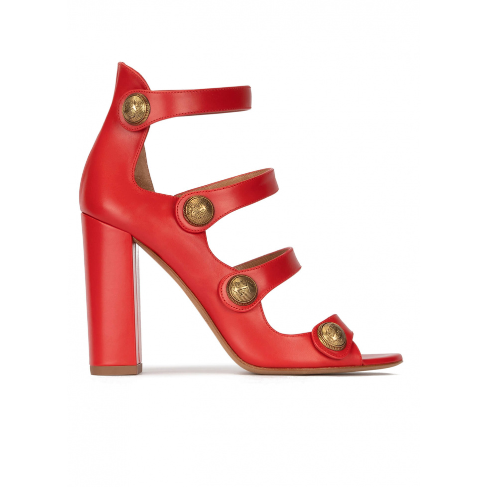 High block heel sandals in red leather with buttons