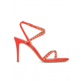 Studded high stiletto heel sandals in red suede Pura López