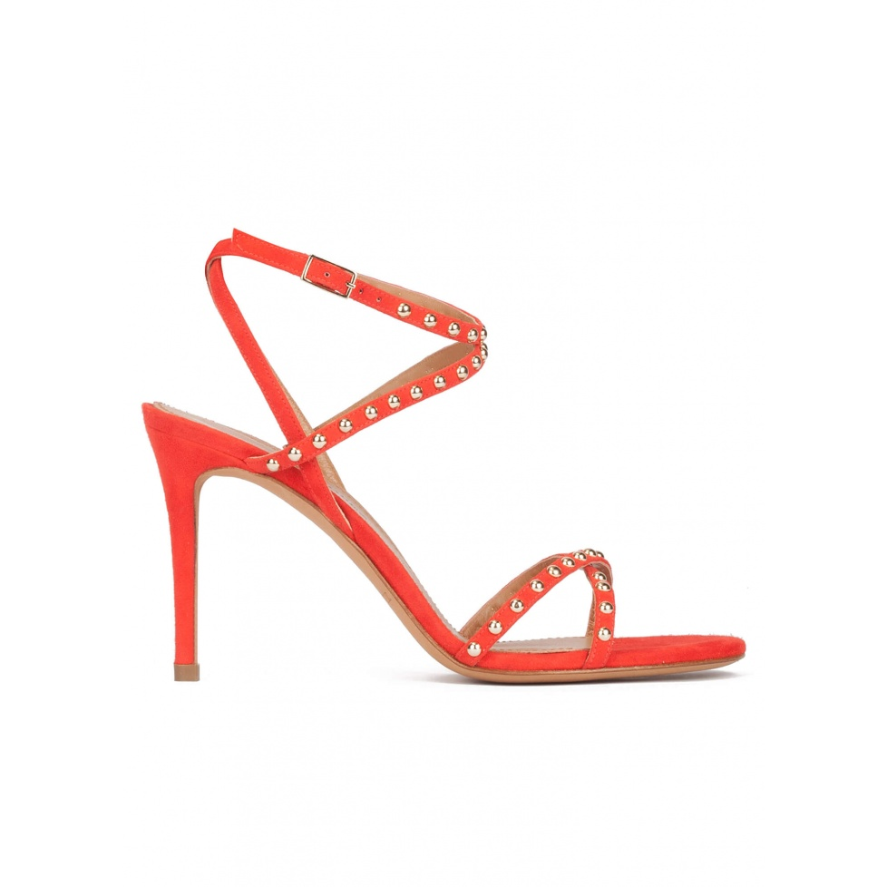 Studded high stiletto heel sandals in red suede