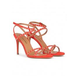 Studded high stiletto heel sandals in red suede Pura López