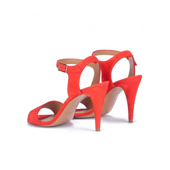 heeled sandals in red suede online shoe store pura lopez pura lopez. Black Bedroom Furniture Sets. Home Design Ideas