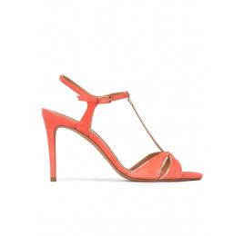 T-bar high heel sandals in coral suede Pura López