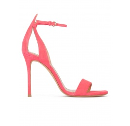 Ankle-strap high stiletto heel sandals in coral pink suede Pura López