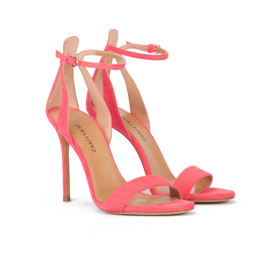 Ankle-strap high stiletto heel sandals in coral pink suede