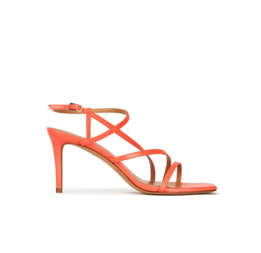 Squared-off toe mid heel sandals in coral pink leather Pura López