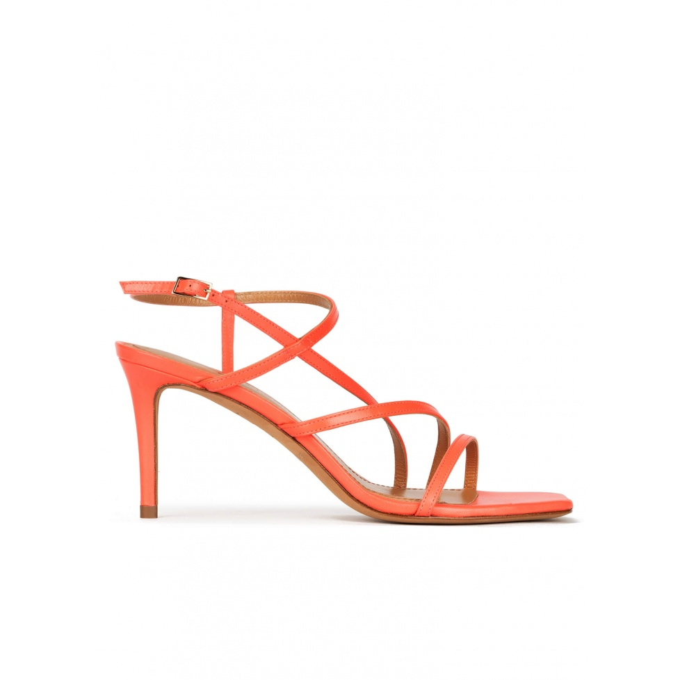 Squared-off toe mid heel sandals in coral pink leather