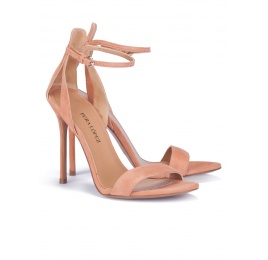 Ankle strap heeled sandals in old rose suede Pura López