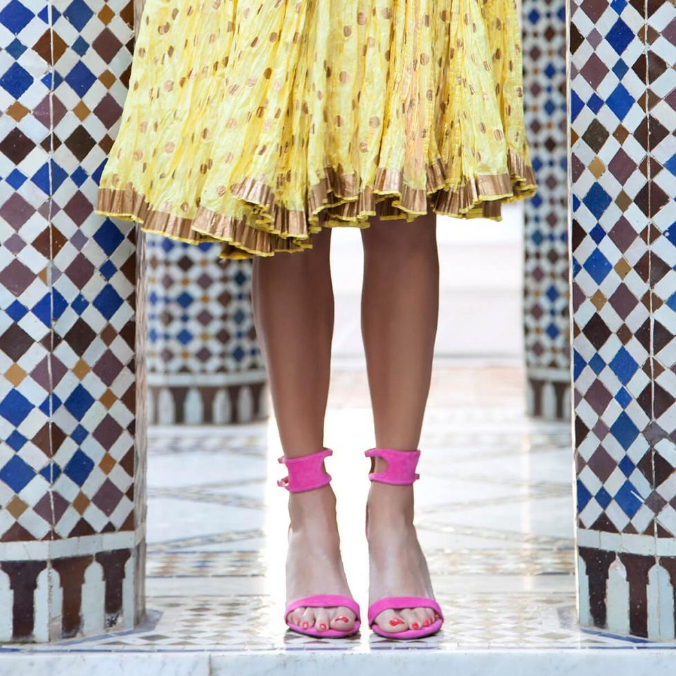 High heel sandals in fuxia suede - online shoe store Pura Lopez