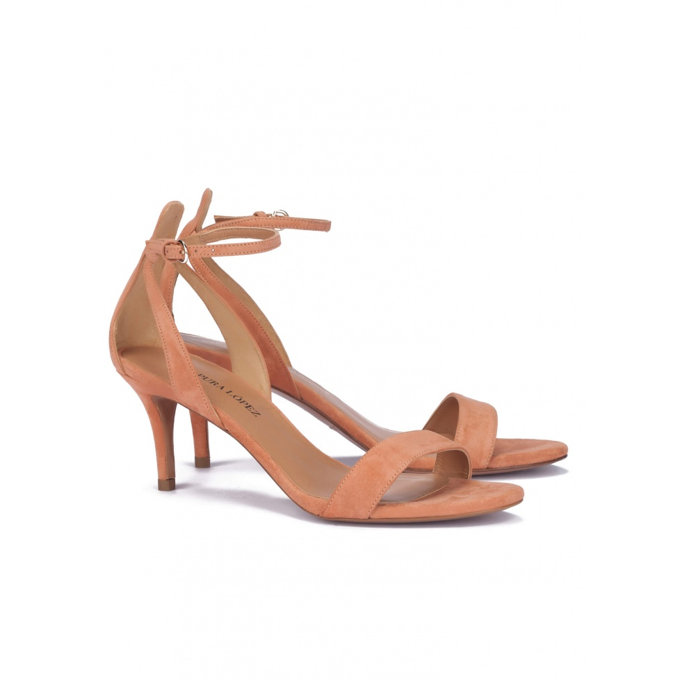Mid heel sandals in old rose suede - online shoe store Pura Lopez