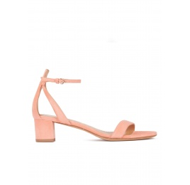 Mid block heel sandals in old rose suede with ankle strap Pura López