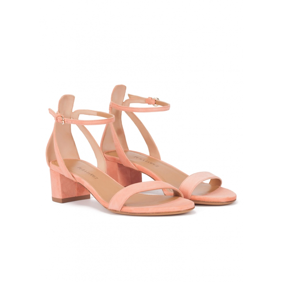 Mid block heel sandals in old rose suede with ankle strap