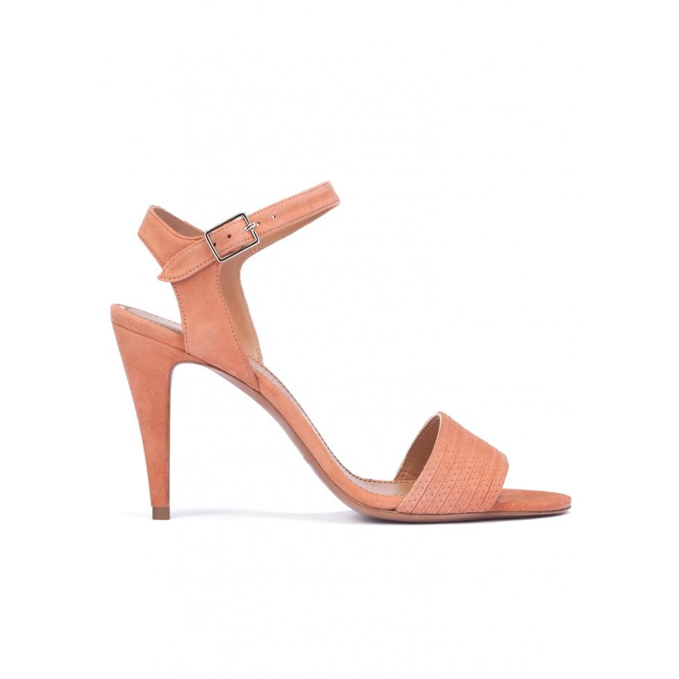 Old rose suede high heel sandals