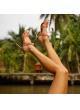 Sandalias de tacón alto en piel rosa antik con nudos