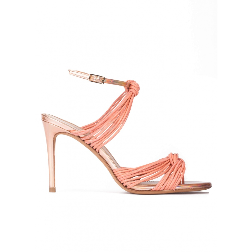 Knotted high heel sandals in old rose leather