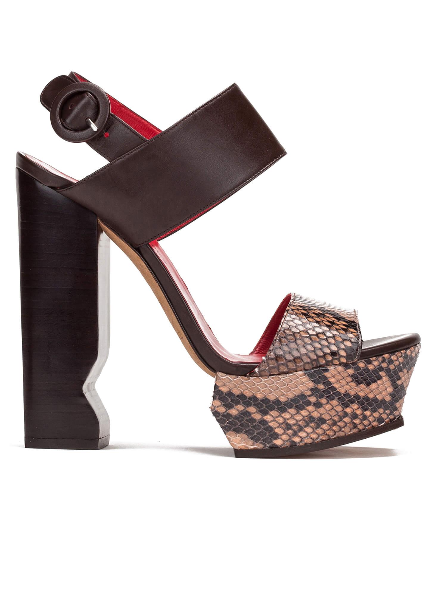 bf619859877 Nude snake leather platform sandals - shoe store Pura López . PURA LOPEZ