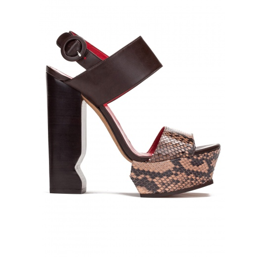 High block heel sandals in nude snake leather and brown leather Pura López