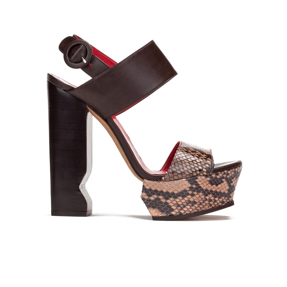 High block heel sandals in nude snake leather and brown leather