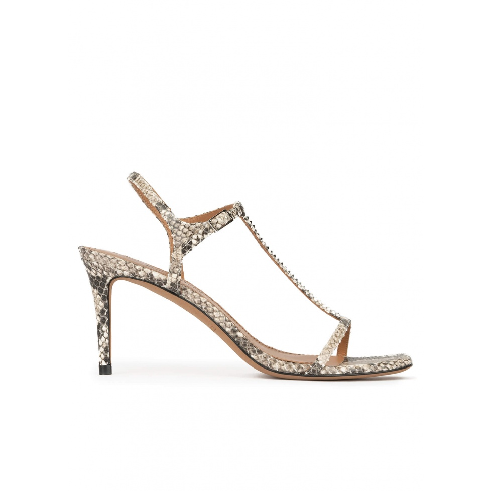 Snake-effect leather t-bar mid heel sandals