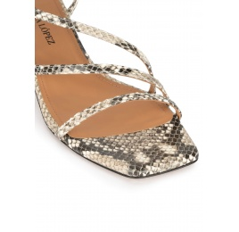Snake-effect leather mid heel sandals Pura López