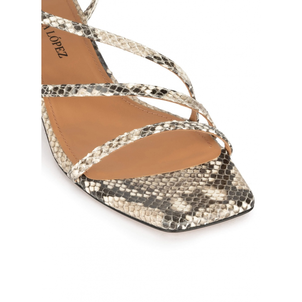 Snake-effect leather mid heel sandals