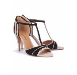 Two-tone t-bar heeled sandals Pura López