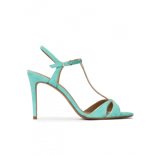 High-heeled sandals in aquamarine suede Pura López