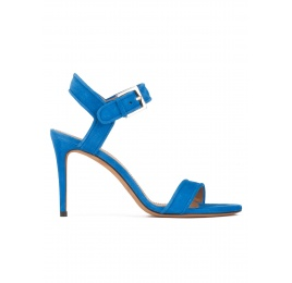 High stiletto heel sandals in royal blue suede Pura López