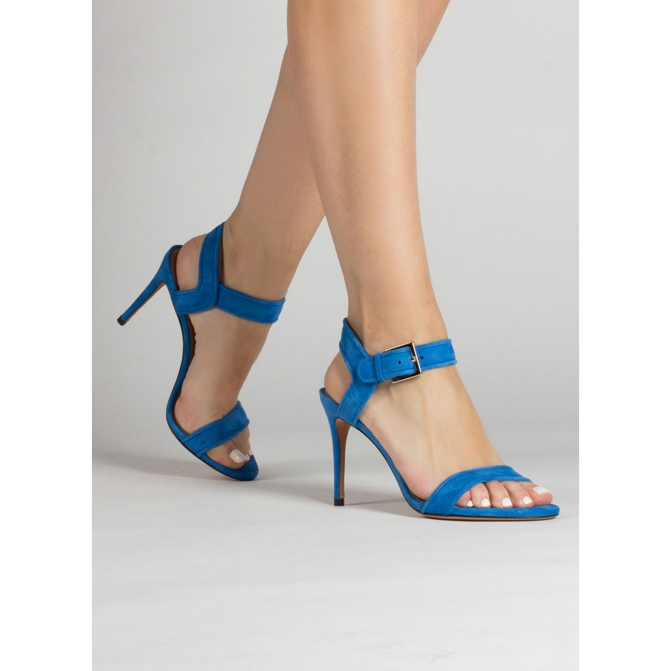 High stiletto heel sandals in royal blue suede