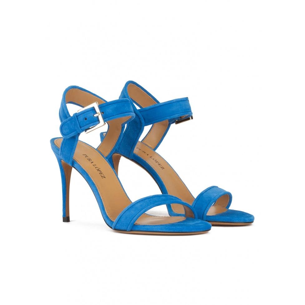 Sandalias de tacón alto fino en ante azul eléctrico
